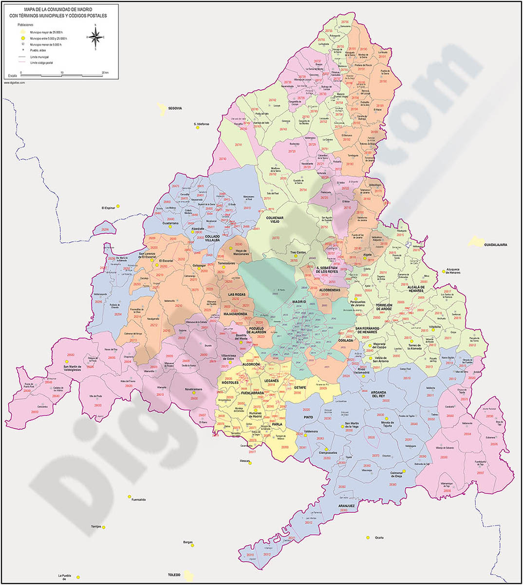 Map of Madrid autonomous community, municipalities and postal codes color