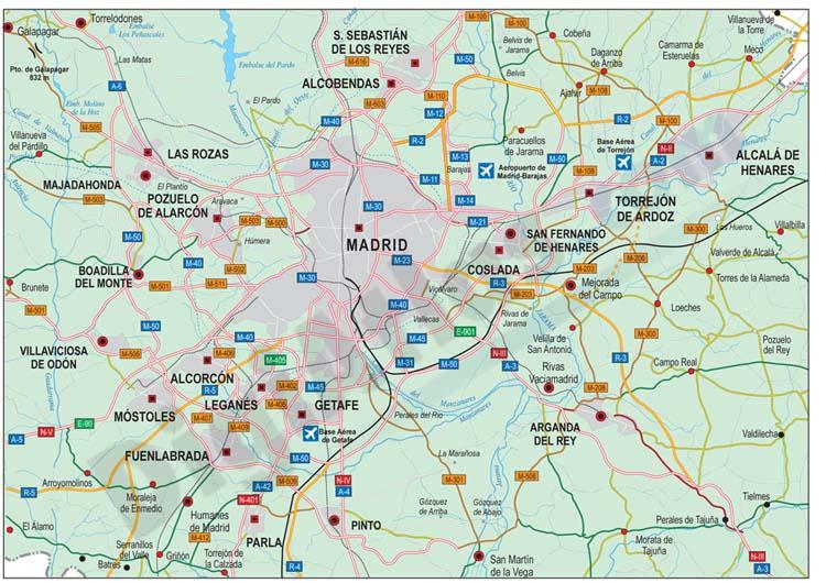 Mapa de la periferia de madrid
