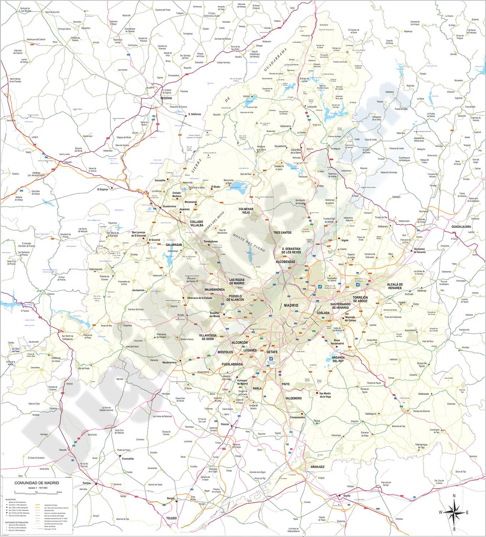 Madrid - Detallado mapa de la Comunidad
