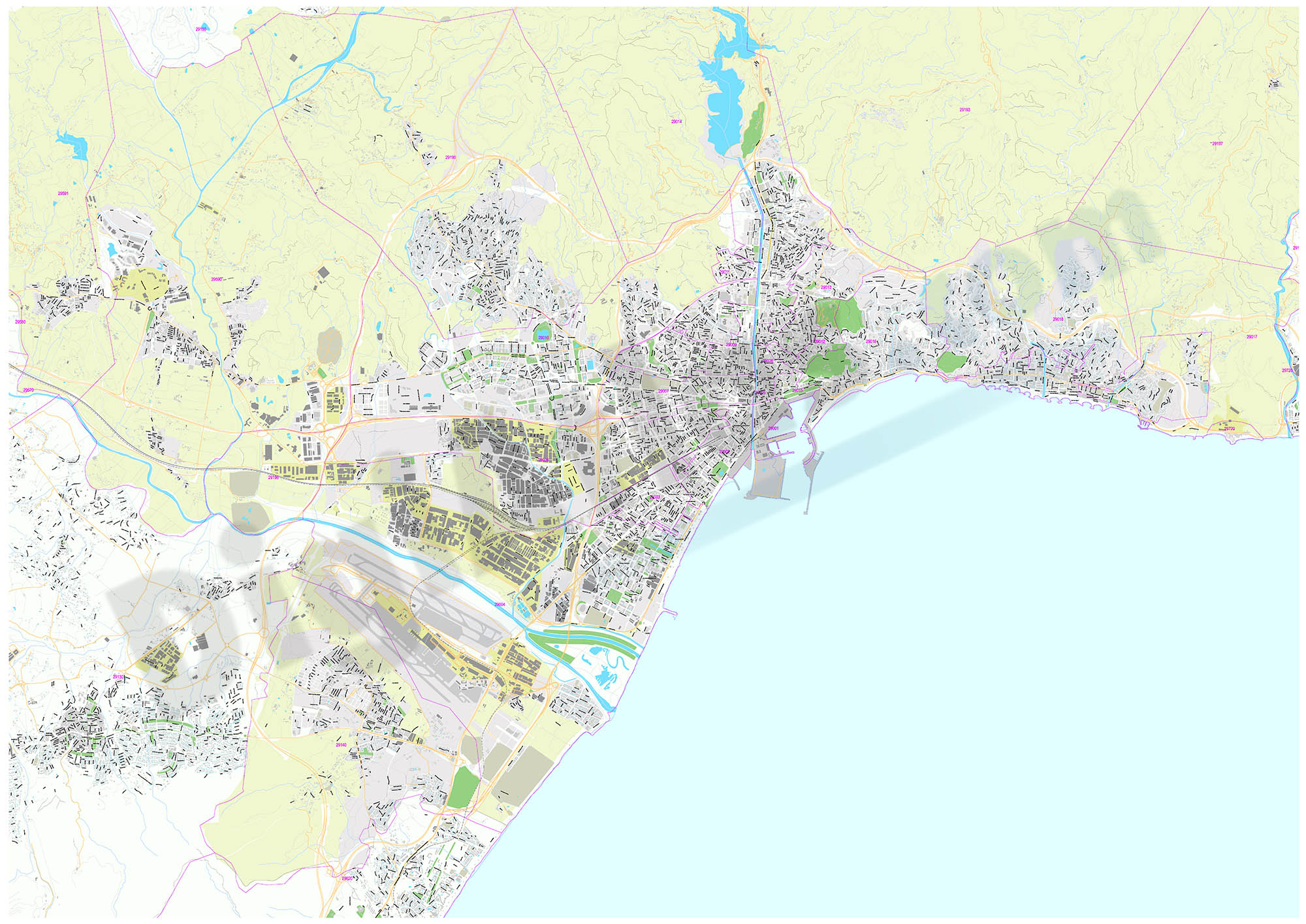 Malaga (Andalusia, Spain) - city map with postal codes