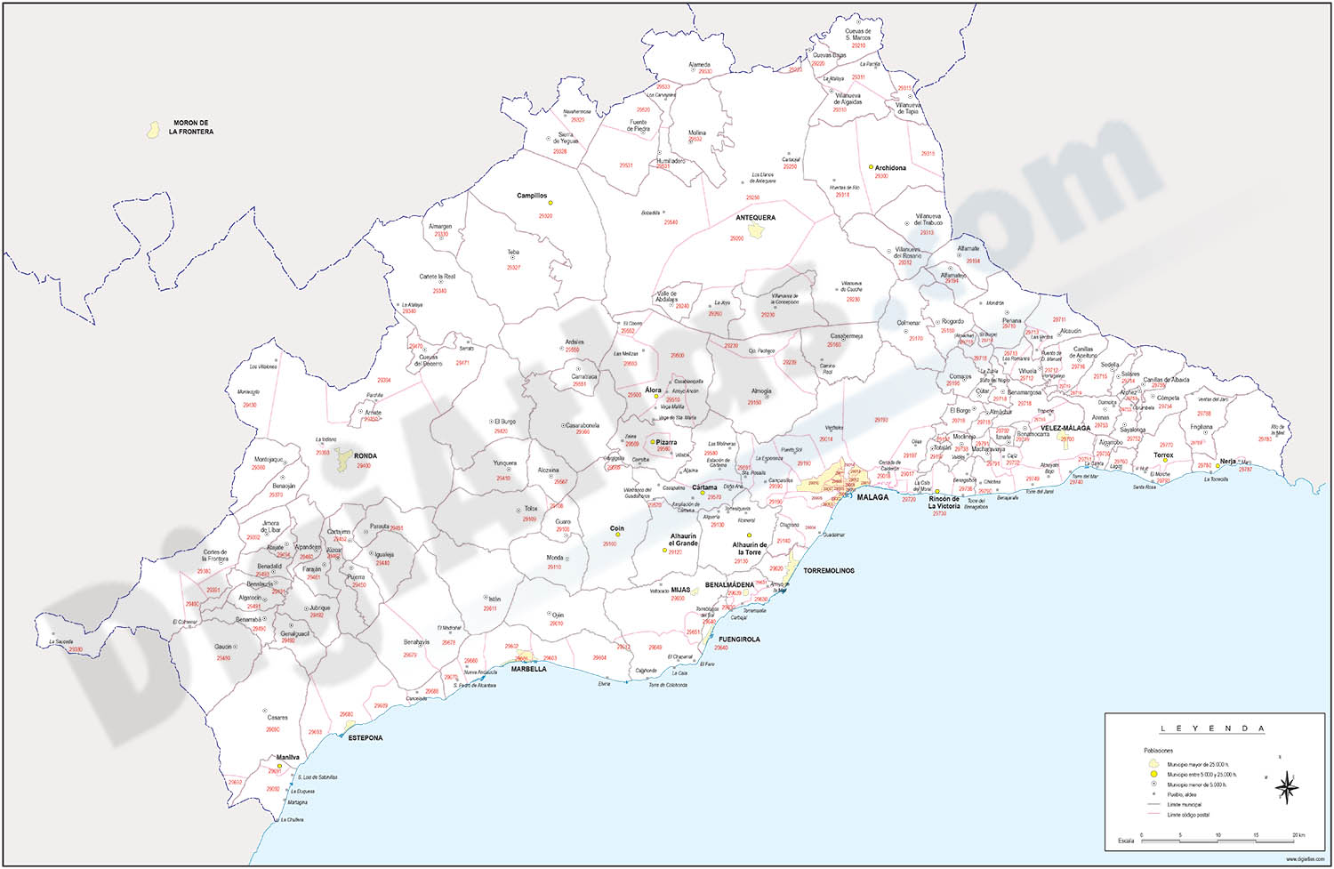 Map of Malaga province with municipalities and postal codes