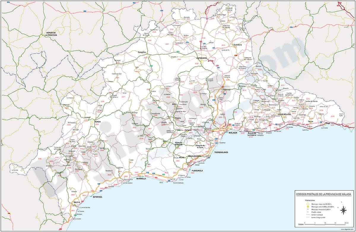 Málaga - mapa provincial con municipios y Códigos Postales