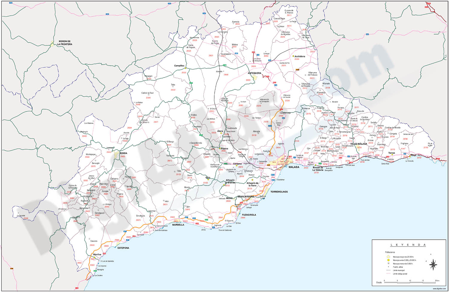 Map of Malaga province with municipalities, postal codes and roads