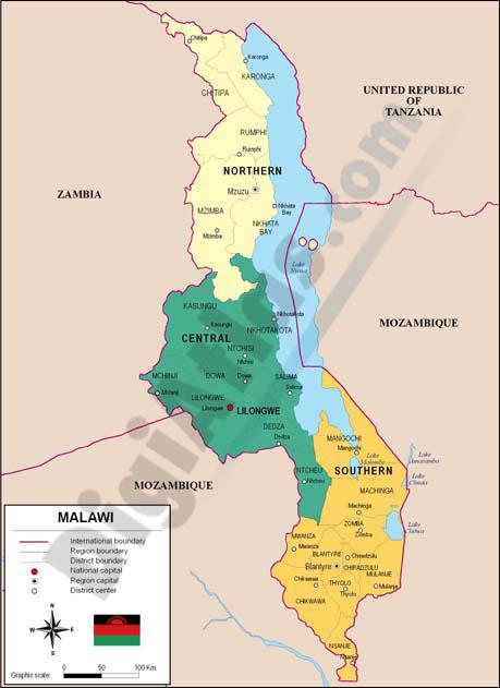 Mapa de Malawi