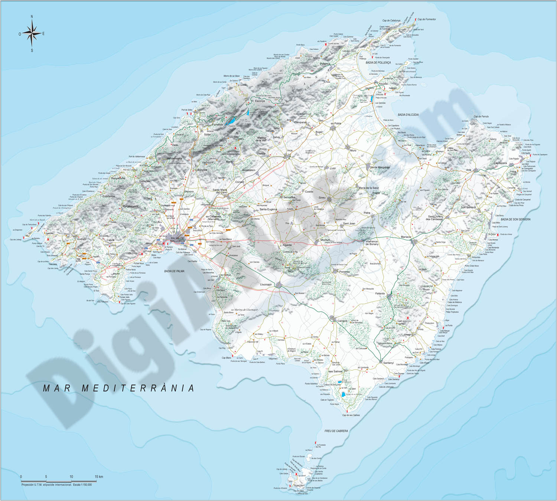 Mapa de la Isla de Mallorca