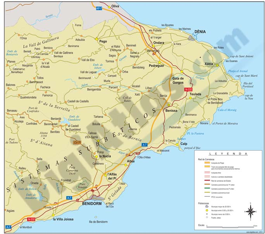 Map of Comarcas Marina Alta and Marina Baixa