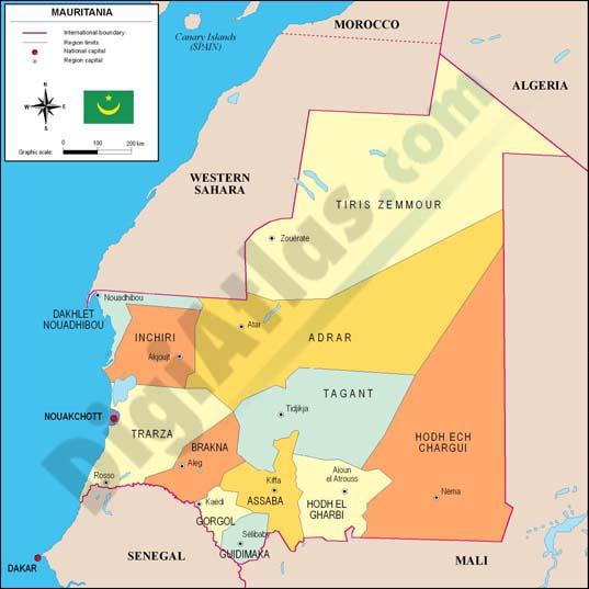 Mapa de Mauritania