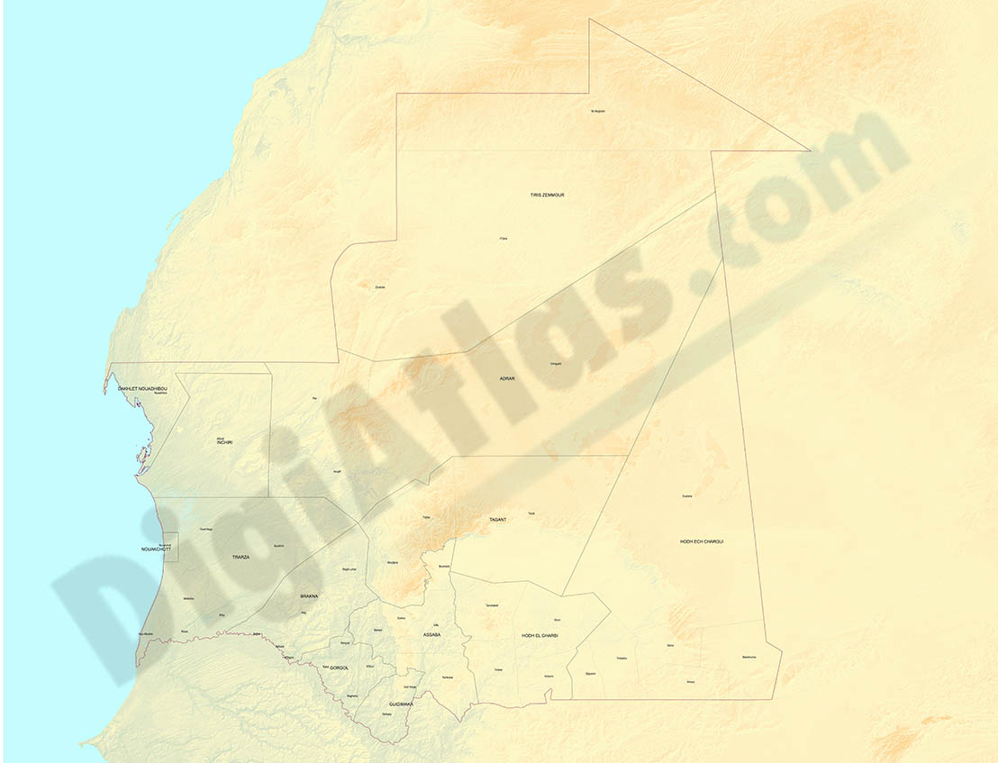 Mapa relieve de Mauritania