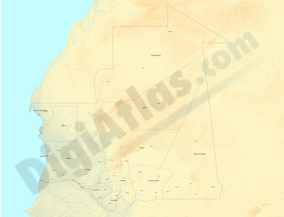 Mapa relieve de Mauritania