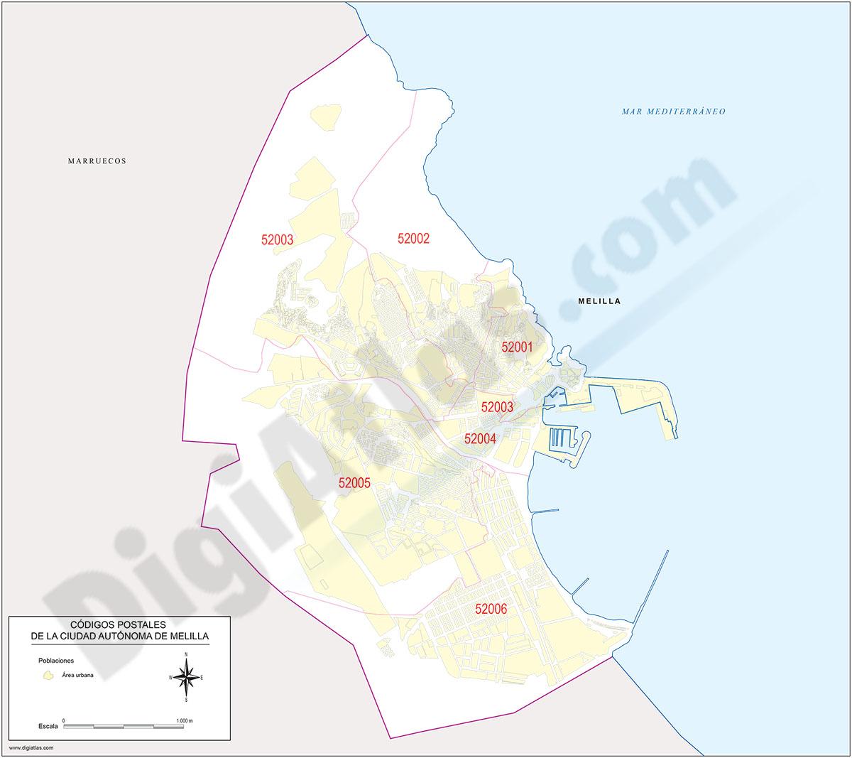 Melilla - mapa de la ciudad autónoma con los códigos postales