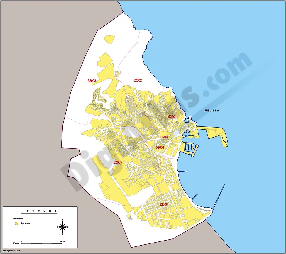 Map of Melilla autonomous city with municipalities and postal codes