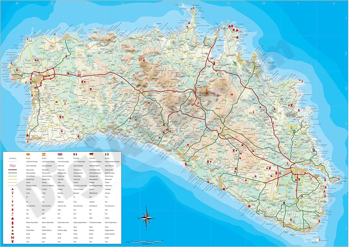 Map of Minorca Island (Balearic Islands)