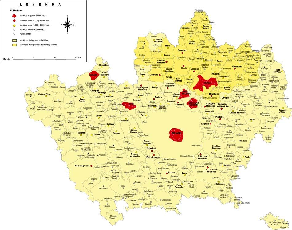 Provincia de Milán con municipios y poblaciones
