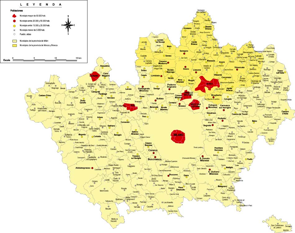 Province of Milan with municipalities and cities