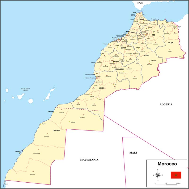 Map of Morocco with regions and Postal Codes