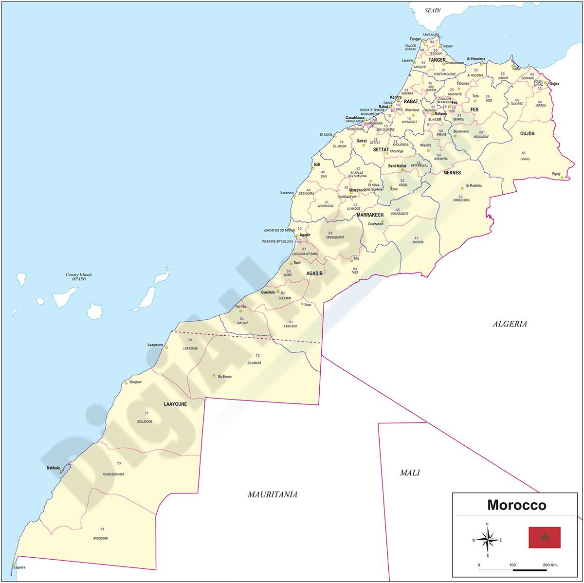 Mapa de Marruecos con regiones y codigos postales