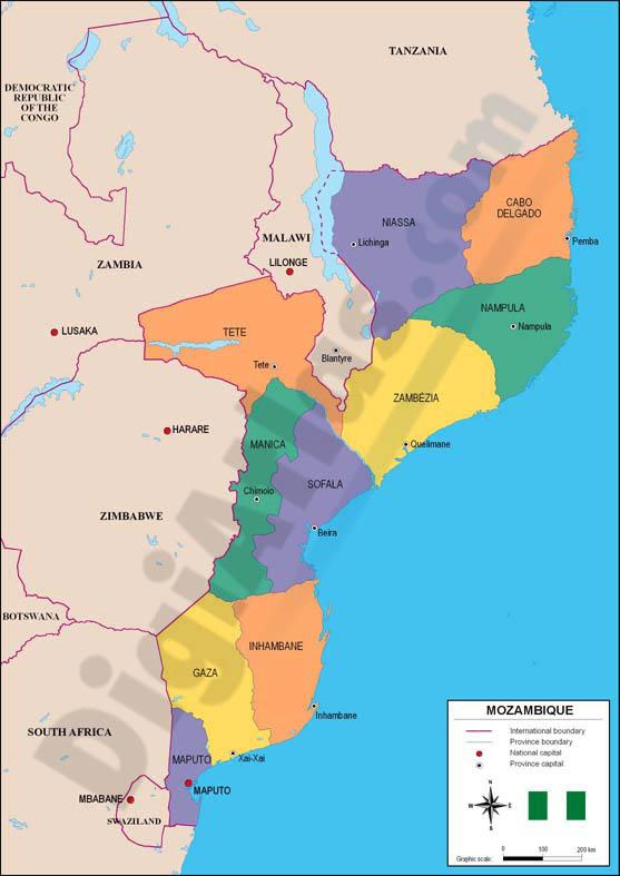 Mapa de Mozambique