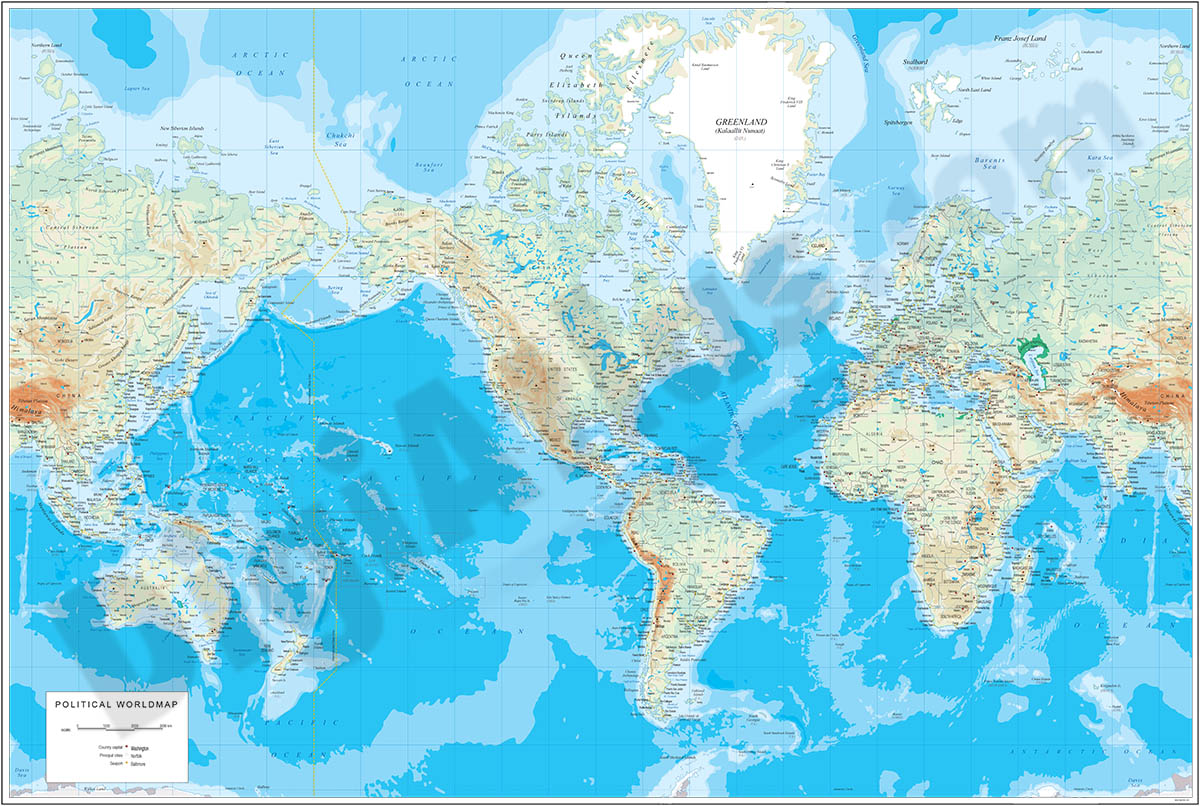 America centered physical-political Worldmap with Seaports