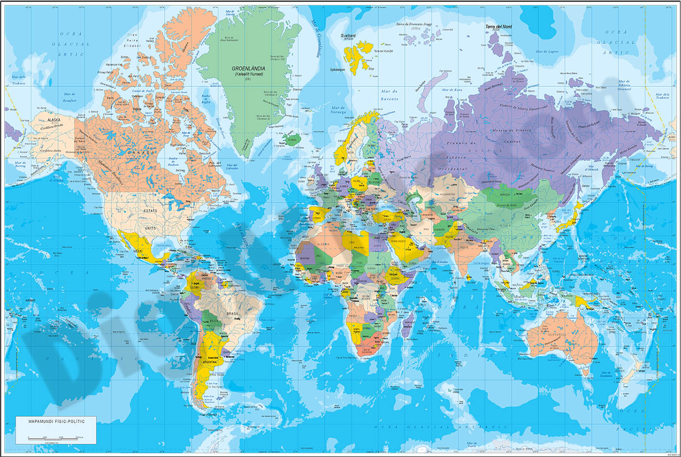 Physical-Political DIN A3 Worldmap