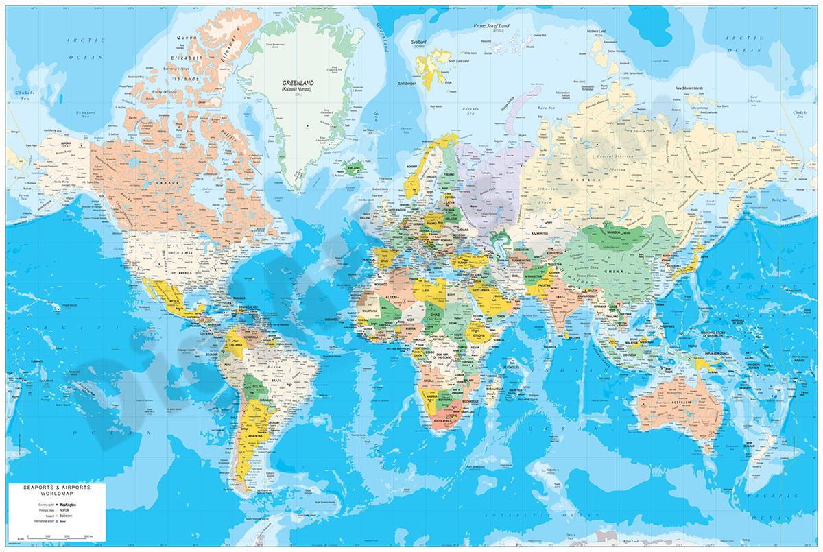 Mapamundi físico-político con puertos y aeropuertos