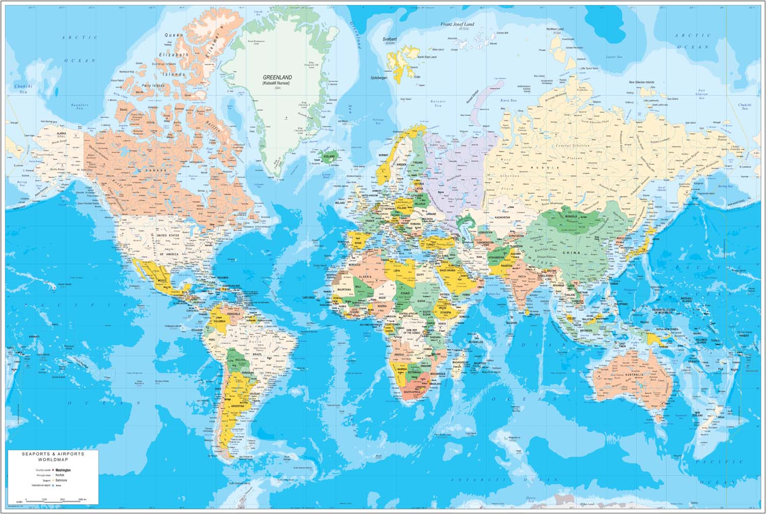 Physical-Political Worldmap with Sea Ports and Airports