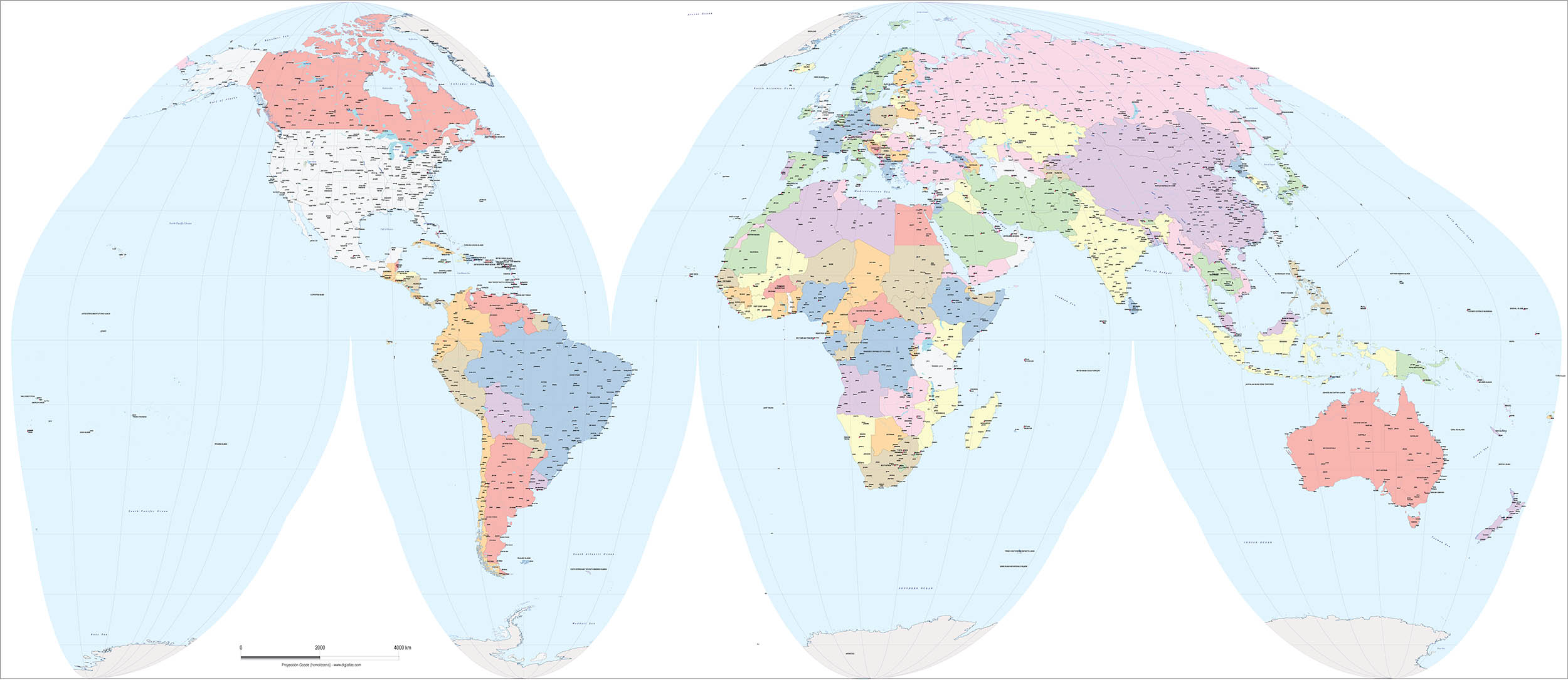 Worldmap Goode homolosine projection