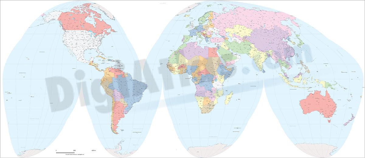 Worldmap Goode homolosine projection