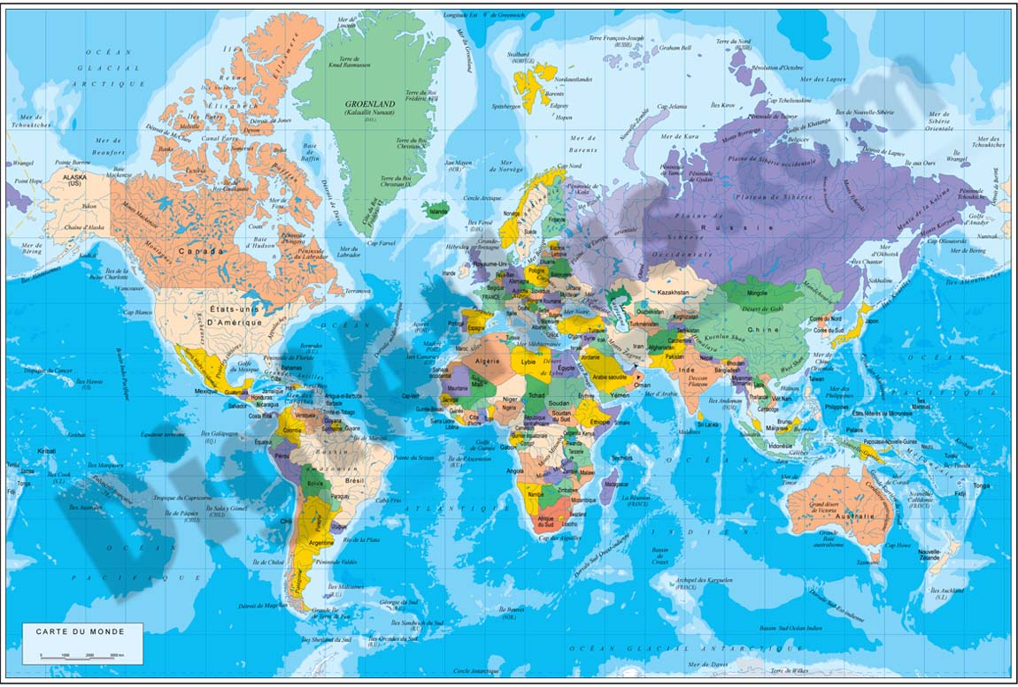 Physical-Political DIN A4 Worldmap