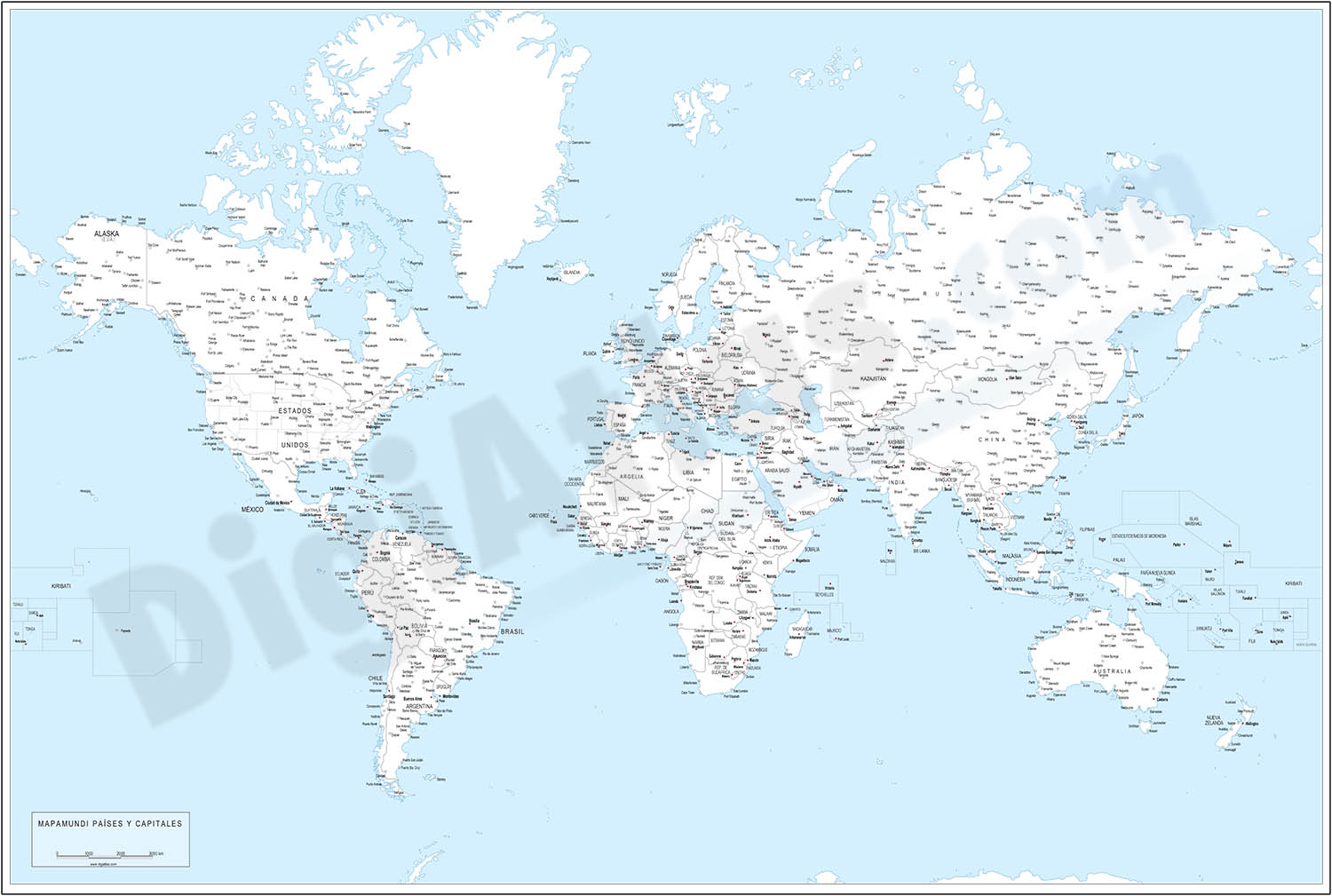 Worldmap - countries and capitals