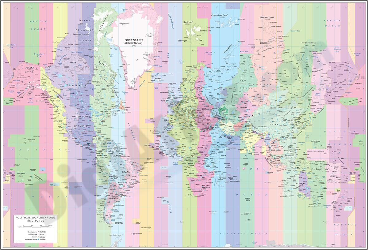 Mapamundi Husos Horarios y Aeropuertos