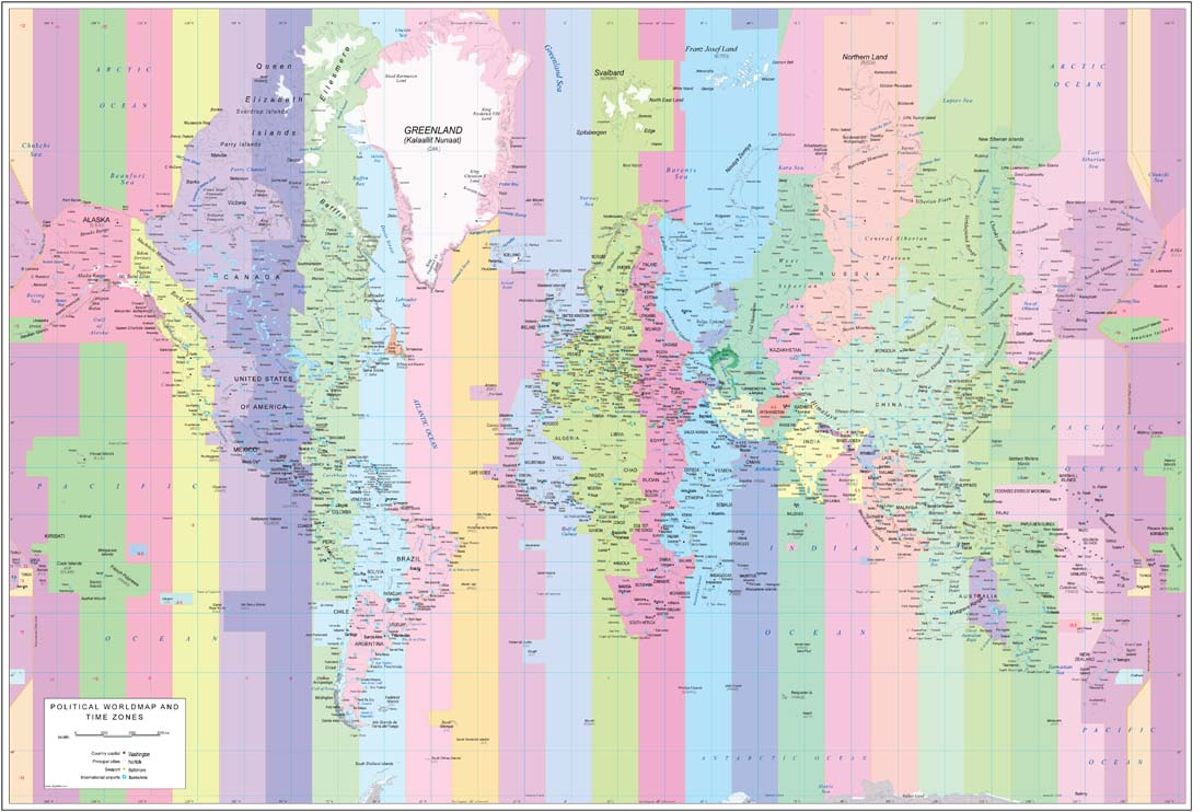 World map Time Zones and Airports