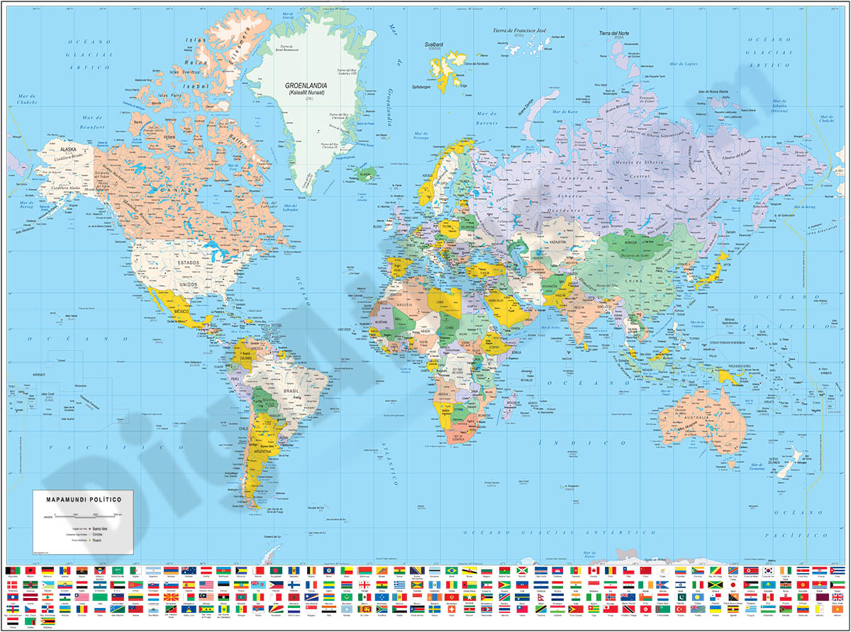 Political World map with flags