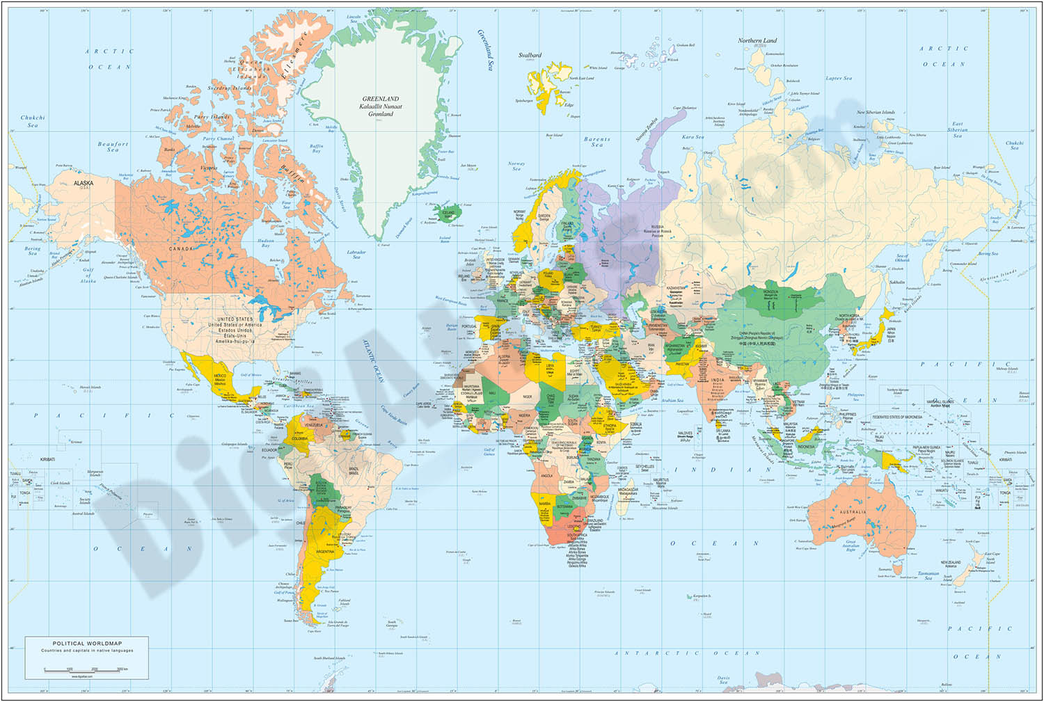 World map with official languages