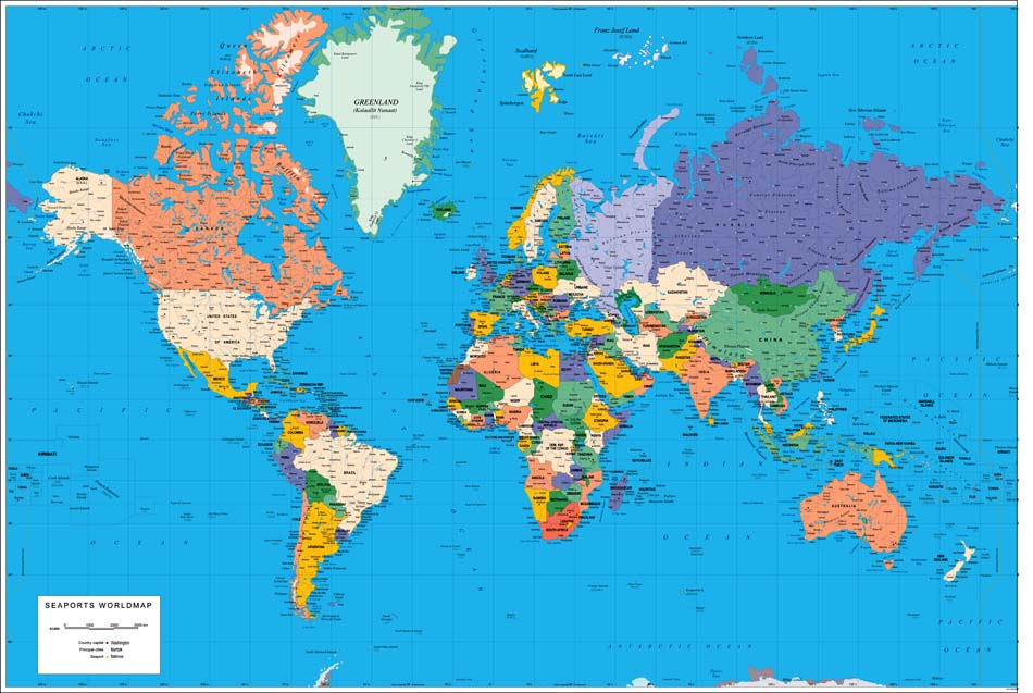 World Map With Capitals Political Map Of World With Countries And