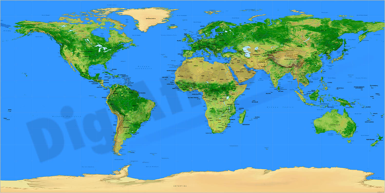 Relief Worldmap with Sea Ports