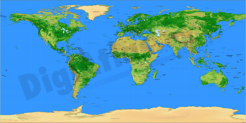 Mapamundi Relieve Puertos Marítimos