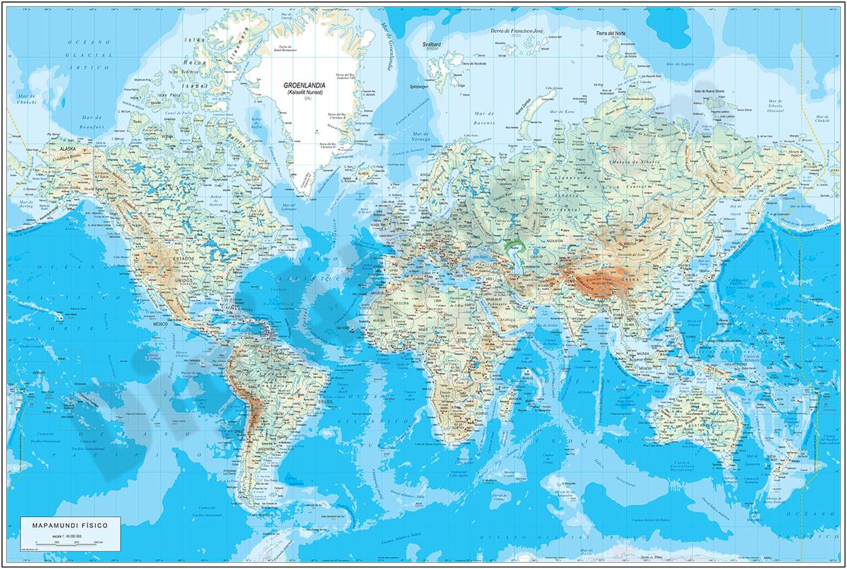 Mapamundi Físico (relieve vectorial)