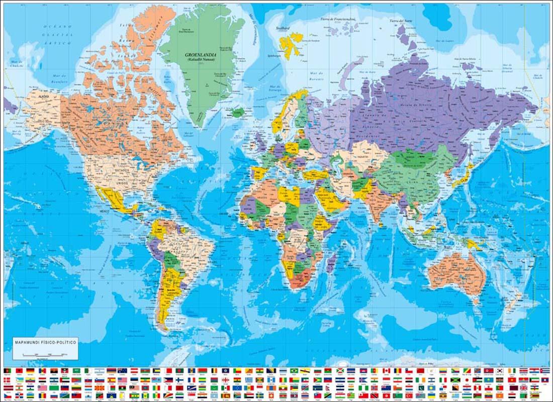 Mapamundi poster fsicopoltico con banderas de paises