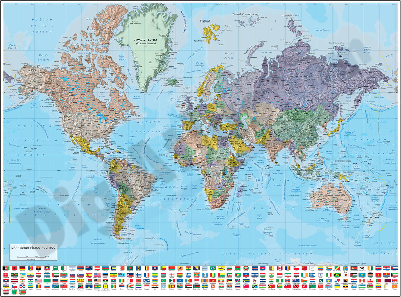 Relief-Political Poster Worldmap with flags
