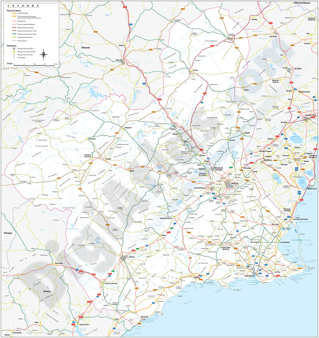 Mapa de la Región de Murcia