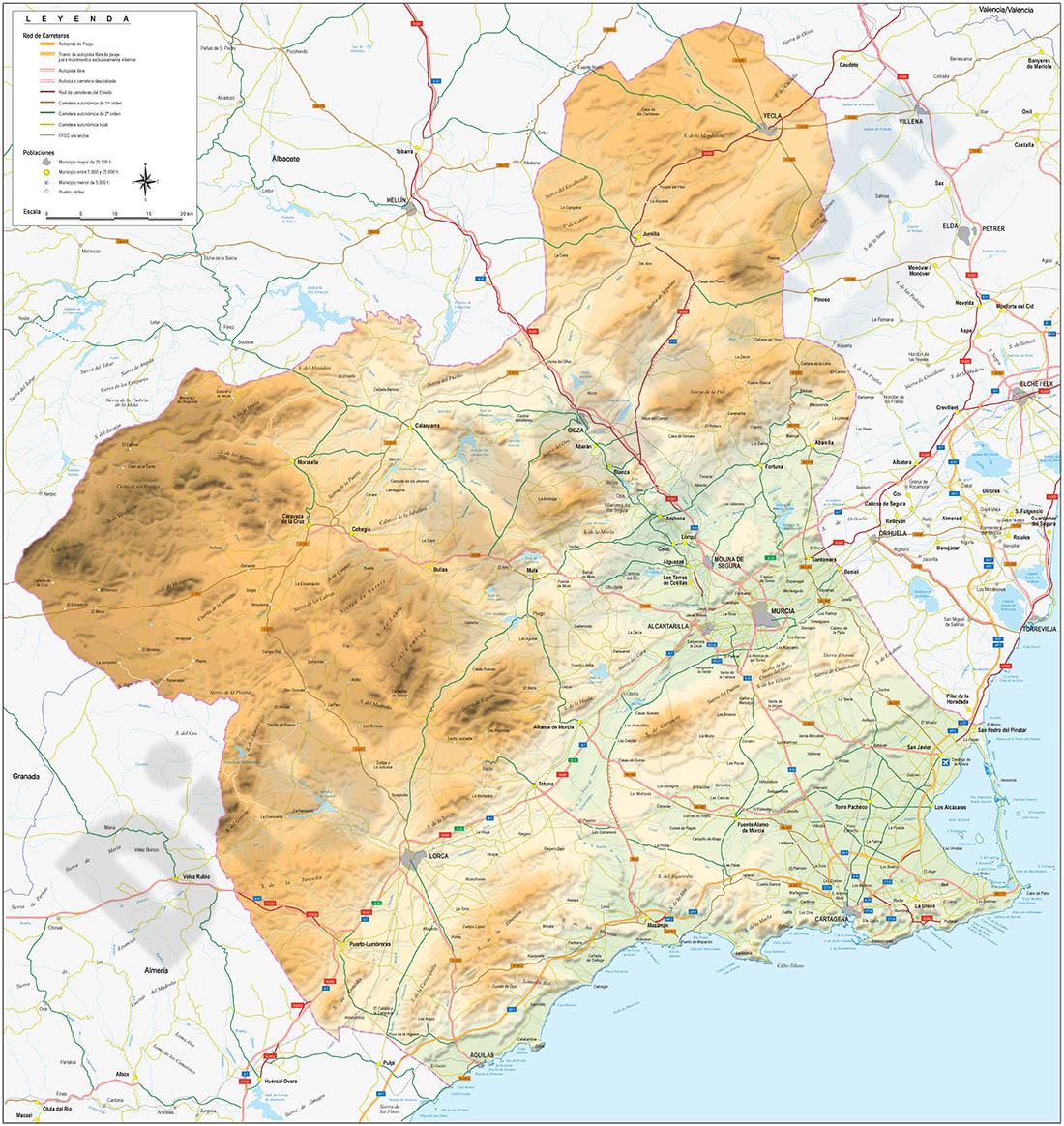 Mapa de la Región de Murcia con relieve