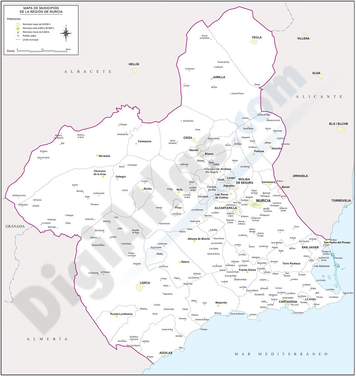 Map of Murcia with municipalities