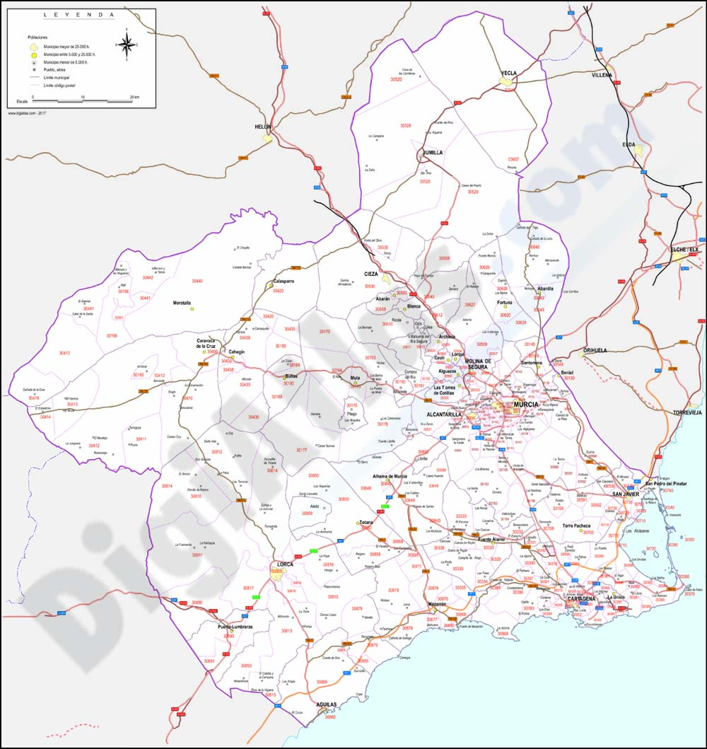 Region of Murcia map with municipalities, major roads and postal codes
