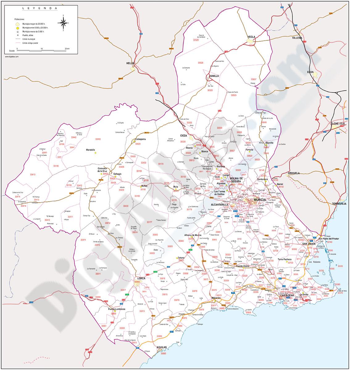 Región de Murcia - mapa autonómico con municipios, Códigos Postales y carreteras