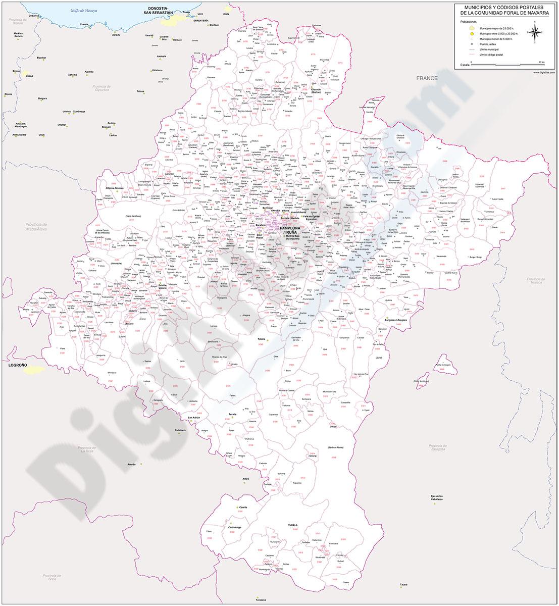 Navarra - mapa autonómico con municipios y Códigos Postales