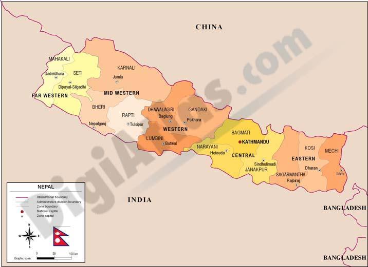 Mapa de Nepal