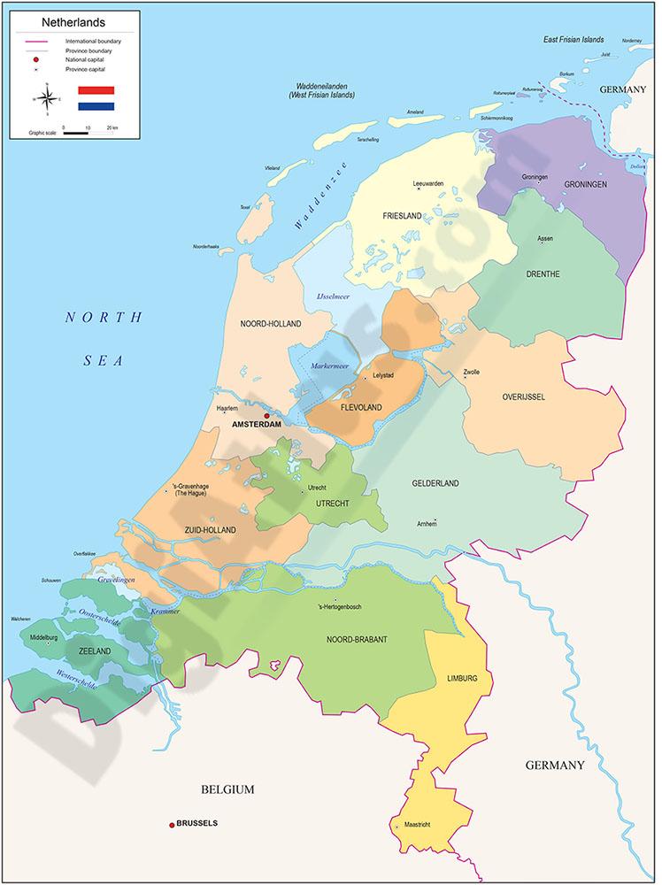 Mapa de Países Bajos (Holanda)