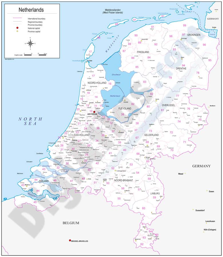 Mapa de los Países Bajos con regiones y codigos postales