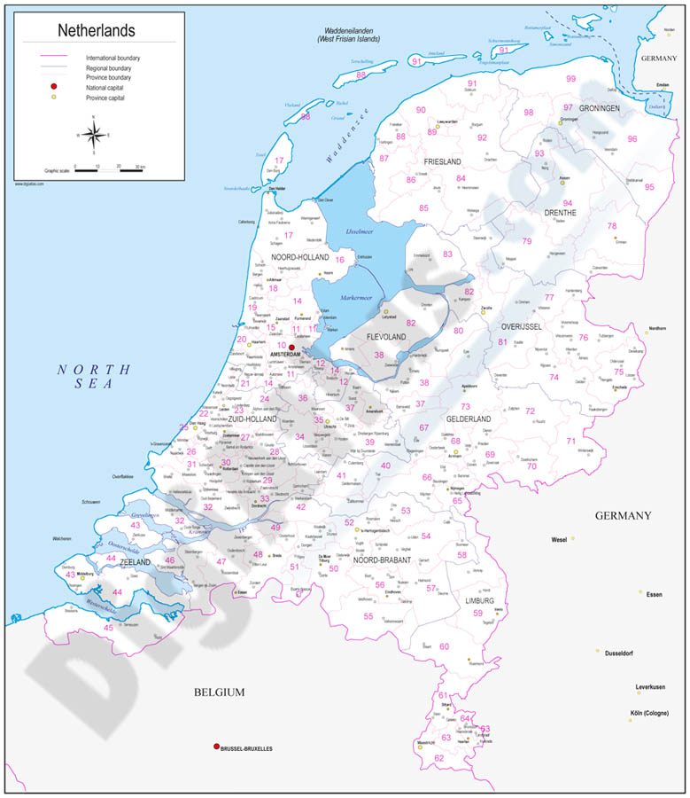 Map of Netherlands with regions and Postal Codes