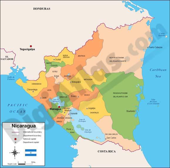 Map of Nicaragua